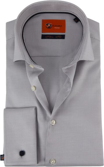 Suitable Overhemd Piede De Poule Grijs