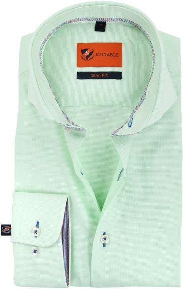 Suitable Overhemd Pinpoint Groen 174-5