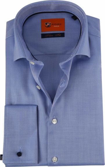 Suitable Overhemd SF Herringbone Blue