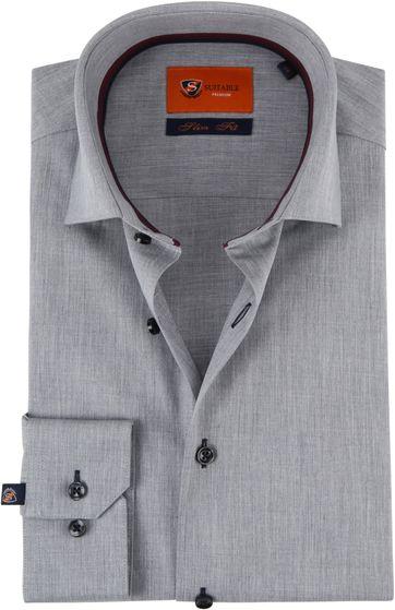 Suitable Overhemd SF Melange Grijs