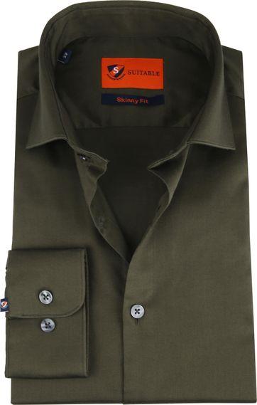 Suitable Overhemd Skinny-Fit Olijfgroen