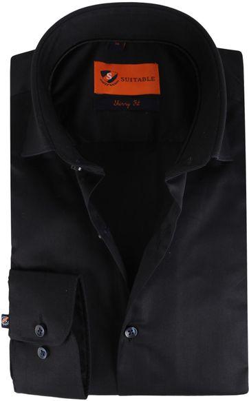 Suitable Overhemd Skinny Fit Zwart