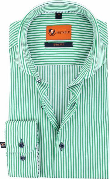 Suitable Overhemd Strepen Groen 174-6