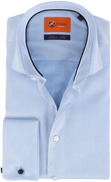 Suitable Overhemd Twill Blue Dubbelmanchet