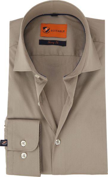 Suitable Overhemd Uni Khaki Skinny