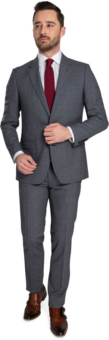 Suitable Prestige Kostuum Faux Ruiten Grijs
