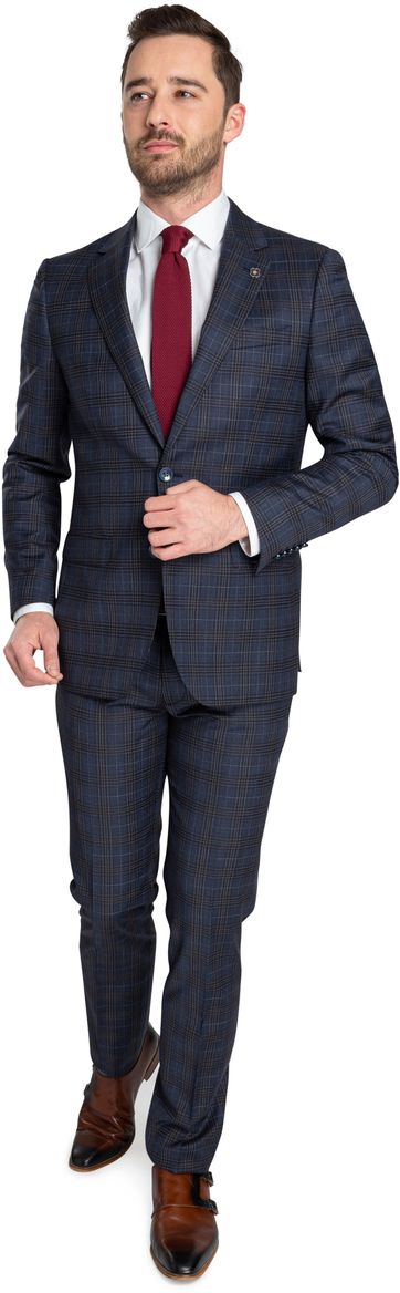 Suitable Prestige Suit Checks Navy