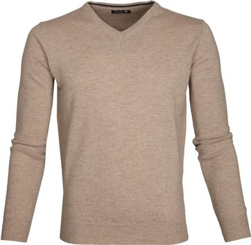 Suitable Pullover Lambswool V-Neck Beige