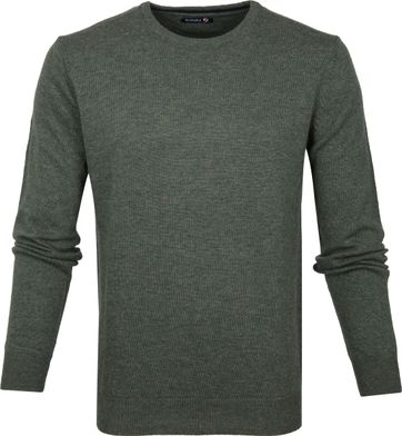 Suitable Pullover O-Hals Lamswol Donkergroen