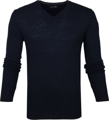 Suitable Pullover V-Neck Lambswool Navy
