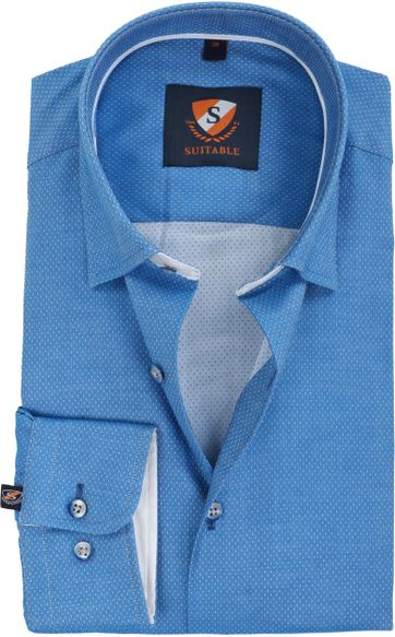 Suitable Shirt Kobalt Blue Pinpoint