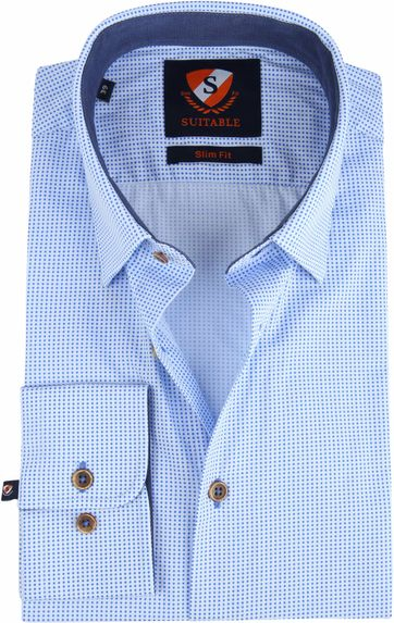 Suitable Shirt Wesley Light Blue Dessin