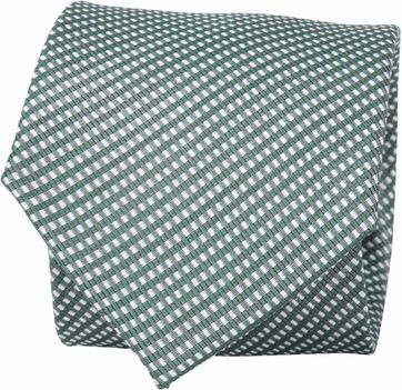 Suitable Silk Tie Side Checks Green F91-23