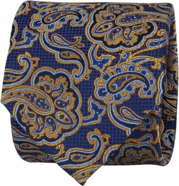 Suitable Stropdas Paisley Navy Goud
