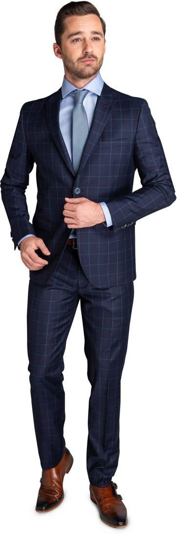 Suitable Suit Strato Windowpane Navy