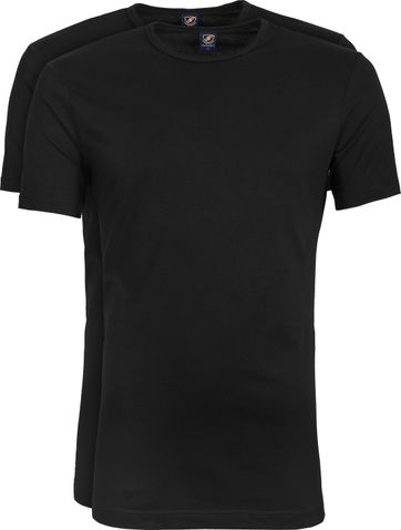 Suitable T-shirt 2er Pack O-Ausschnitt Schwarz
