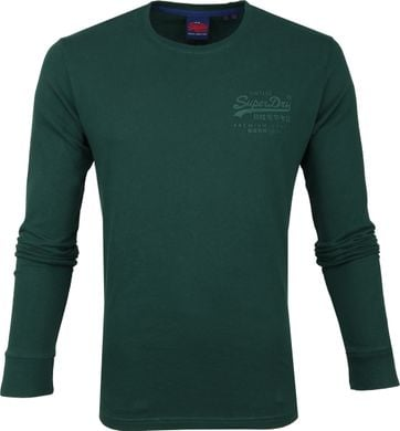 Superdry Longsleeve Cotton Dunkelgrün