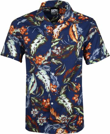 Superdry Shirt Hawaiian Dunkelblau