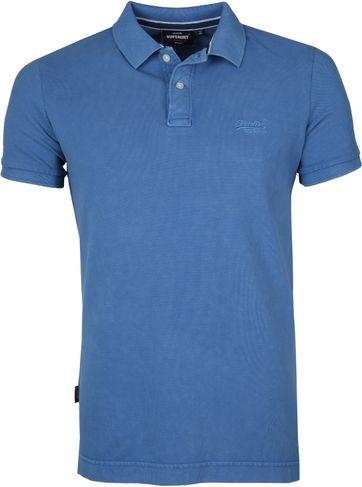 Superdry Vintage Destroyed Pique Poloshirt Mid Blue