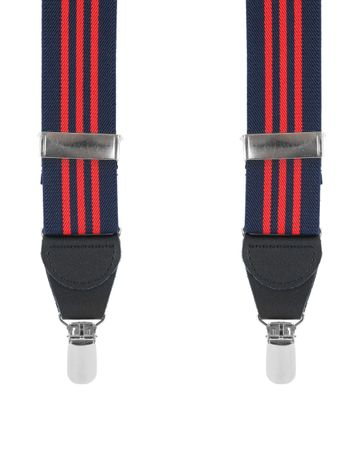 Suspenders Navy Red Striped