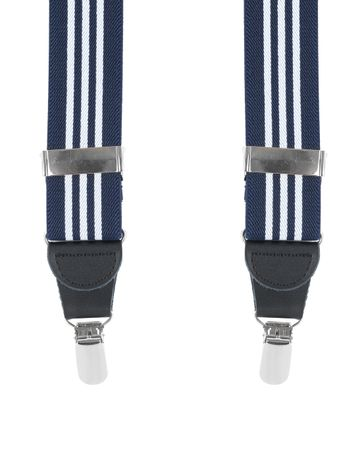 Suspenders Navy White Striped