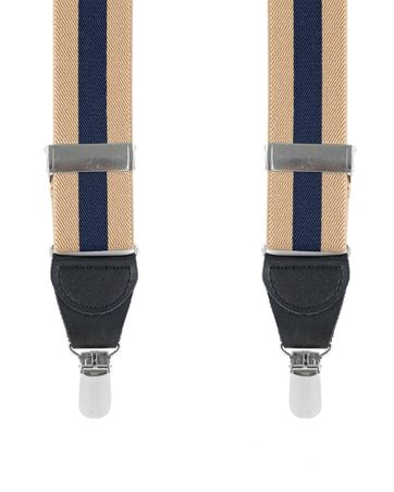 Suspenders Striped Camel + Navy