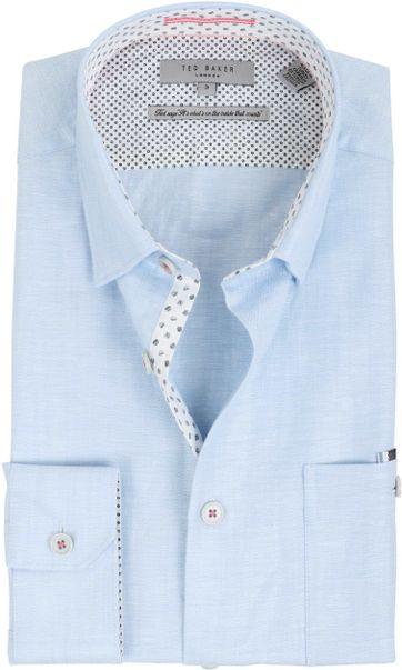 Ted Baker Overhemd Linnen Blauw