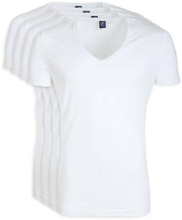 Tiefer V-Ausschnitt 4er Pack Stretch Bambus T-Shirt Weiß