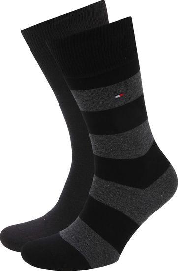 Tommy Hilfiger 2-Pack Socken Streifen Uni Schwarz