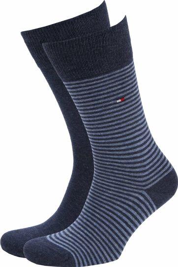 Tommy Hilfiger 2-Pack Sokken Streep Uni Blauw