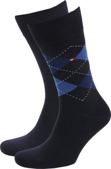 Tommy Hilfiger 2-Pair Socks Check Uni Navy