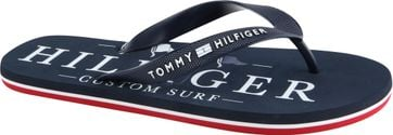 Tommy Hilfiger Flip Flops Nautical Print Navy