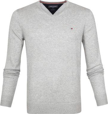Tommy Hilfiger Pullover V-Hals Lichtgrijs
