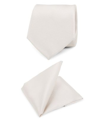 Trouw Stropdas + Pochet Carre Off-white