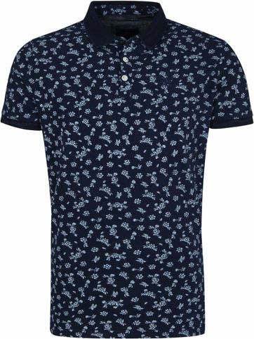 Vanguard Poloshirt Pique Flowers Navy