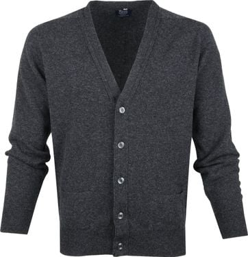 William Lockie Lambswool Cardigan Dark Grey