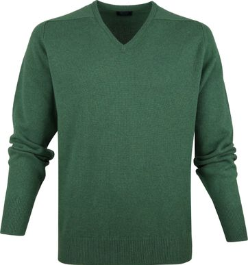 William Lockie V-Neck Lambswool Green