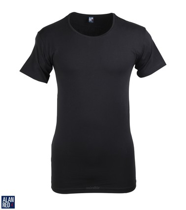 Alan Red T-Shirt Extra Brede O-Hals Zwart