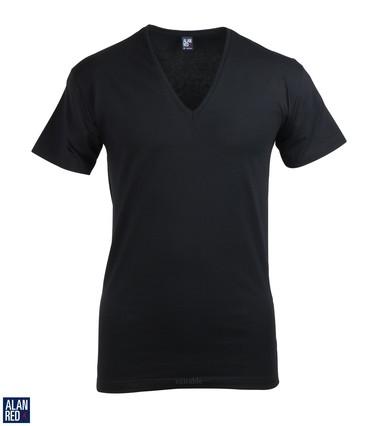 Alan Red T-Shirt Extra Diepe V-Hals Zwart