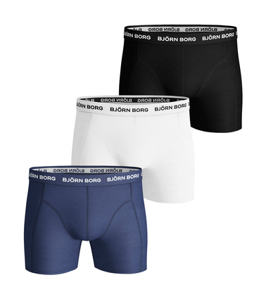 Bjorn Borg Boxers Solid Stretch 3 Pack Blue Depths