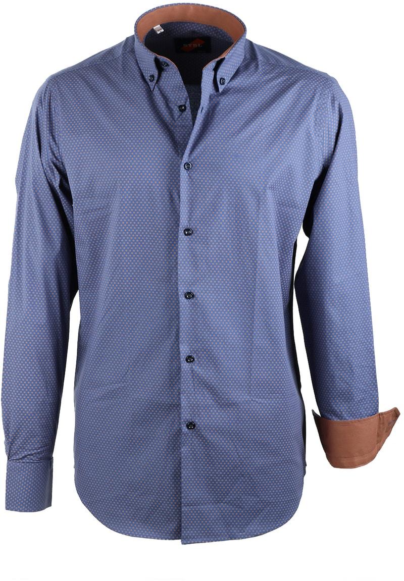 Casual Overhemd Blauw Camel Print