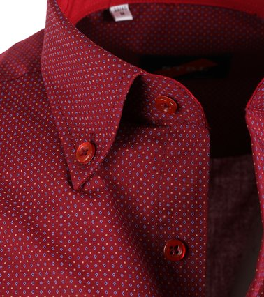 Detail Casual Overhemd Bordeaux Print