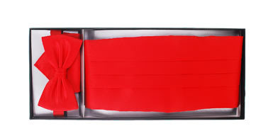 Set Kummerbund mit Fliege und Einstecktuch Rot Foto 1
