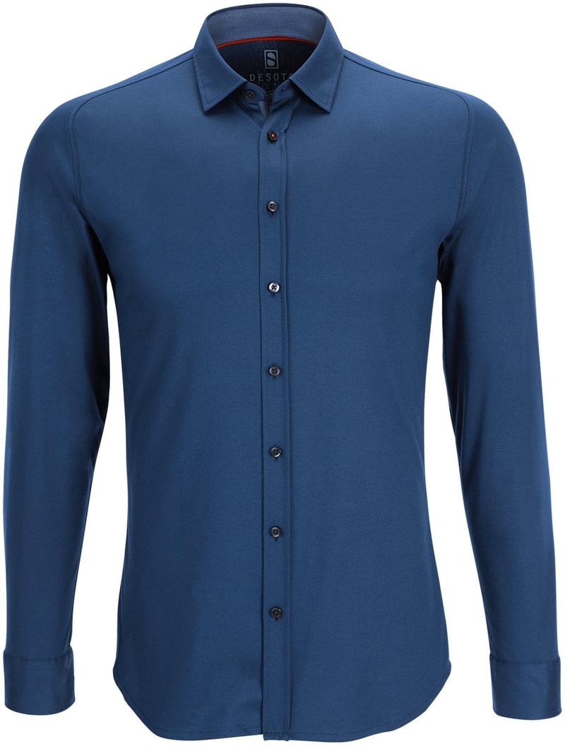 Detail Desoto Overhemd Strijkvrij Indigoblauw
