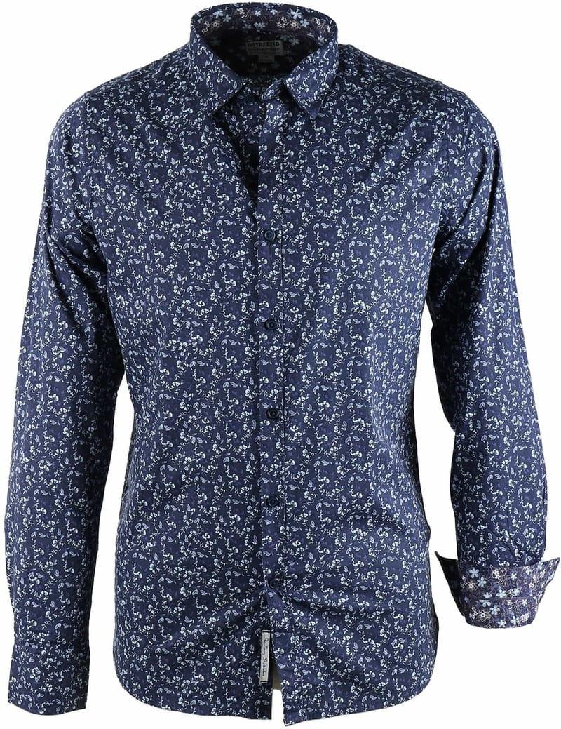Dstrezzed Bloemetjes Overhemd Donkerblauw
