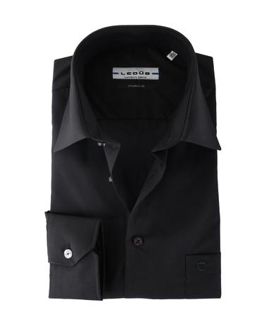 Ledub Overhemd Zwart Modern Fit