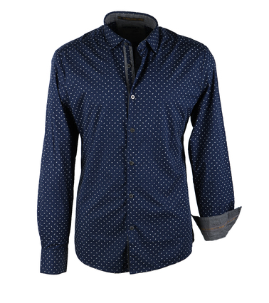 No-Excess Overhemd Navy Print