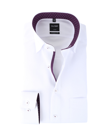 Olymp Luxor Shirt Modern Fit Wit + Paars