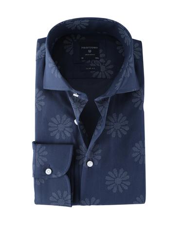 Profuomo Shirt Print Donkerblauw