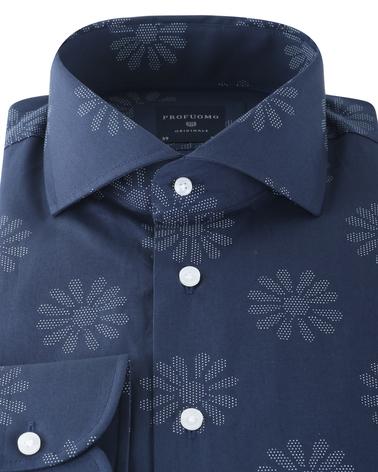 Detail Profuomo Shirt Print Donkerblauw
